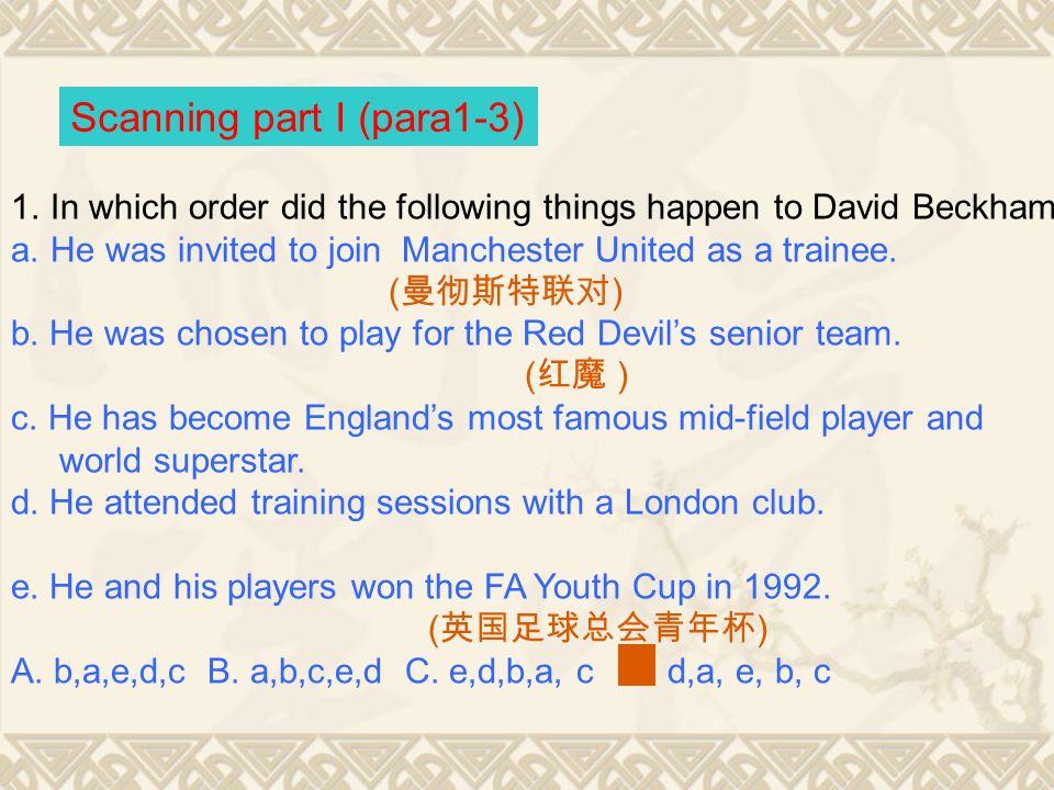 (Para 13) The success of David Beckham in the football career.