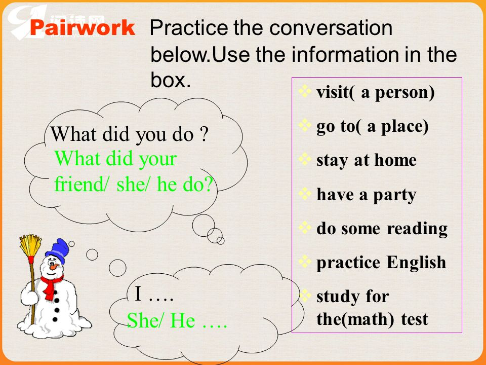 Pairwork Practice the conversation below.Use the information in the box.