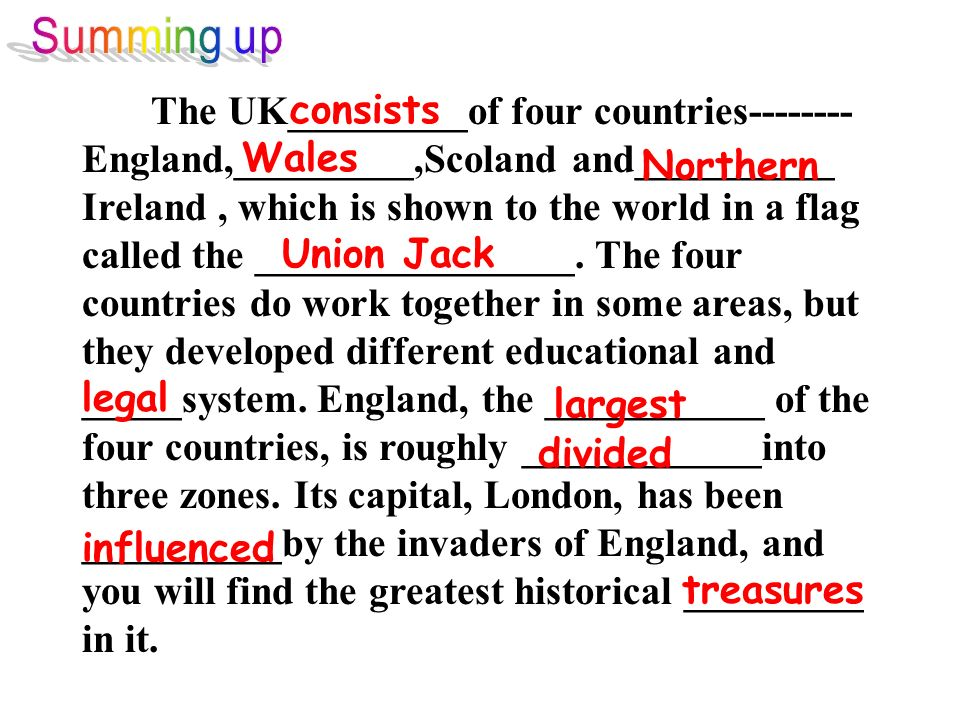The UK_________of four countries-------- England,_________,Scoland and__________ Ireland, which is shown to the world in a flag called the ___________