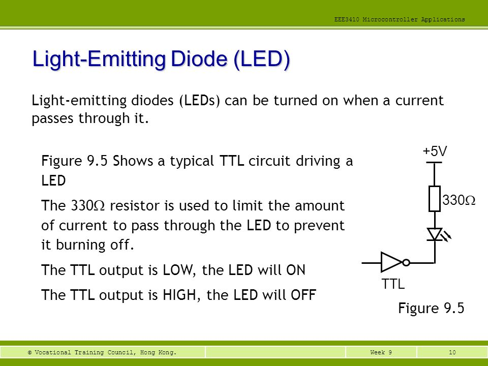 10Week 9© Vocational Training Council, Hong Kong. EEE3410 Microcontroller Applications Light-Emitting Diode (LED) Light-emitting diodes (LEDs) can be