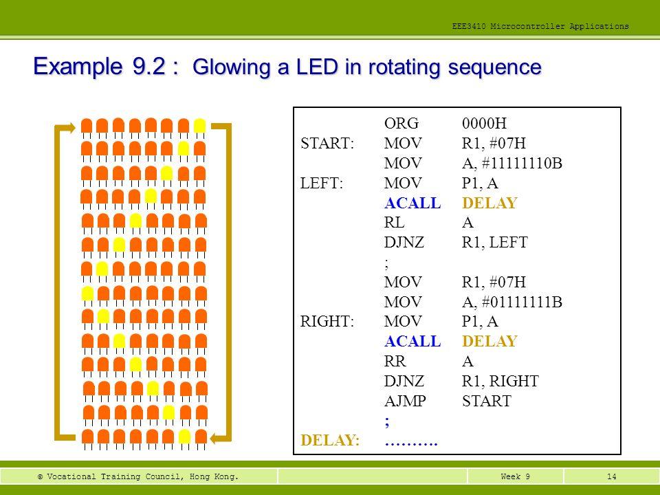 14Week 9© Vocational Training Council, Hong Kong. EEE3410 Microcontroller Applications ORG0000H START:MOVR1, #07H MOVA, #11111110B LEFT:MOVP1, A ACALL