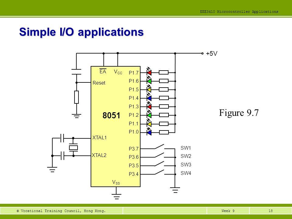 18Week 9© Vocational Training Council, Hong Kong. EEE3410 Microcontroller Applications Simple I/O applications Figure 9.7