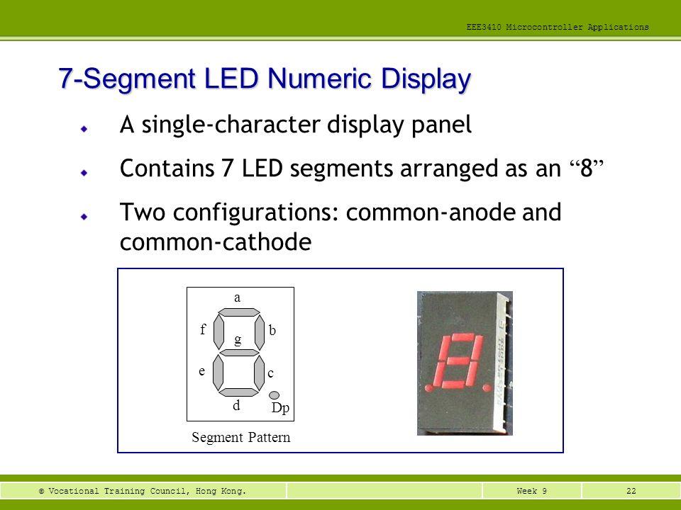 22Week 9© Vocational Training Council, Hong Kong. EEE3410 Microcontroller Applications A single-character display panel Contains 7 LED segments arrang