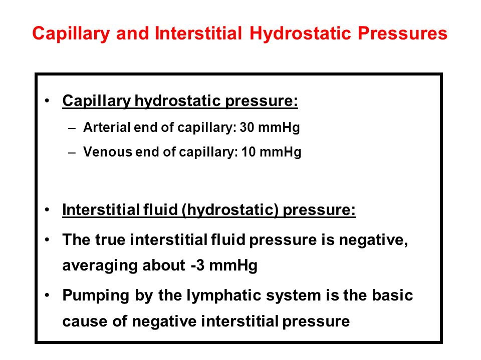 Capillary and Interstitial Hydrostatic Pressures Capillary hydrostatic pressure: –Arterial end of capillary: 30 mmHg –Venous end of capillary: 10 mmHg