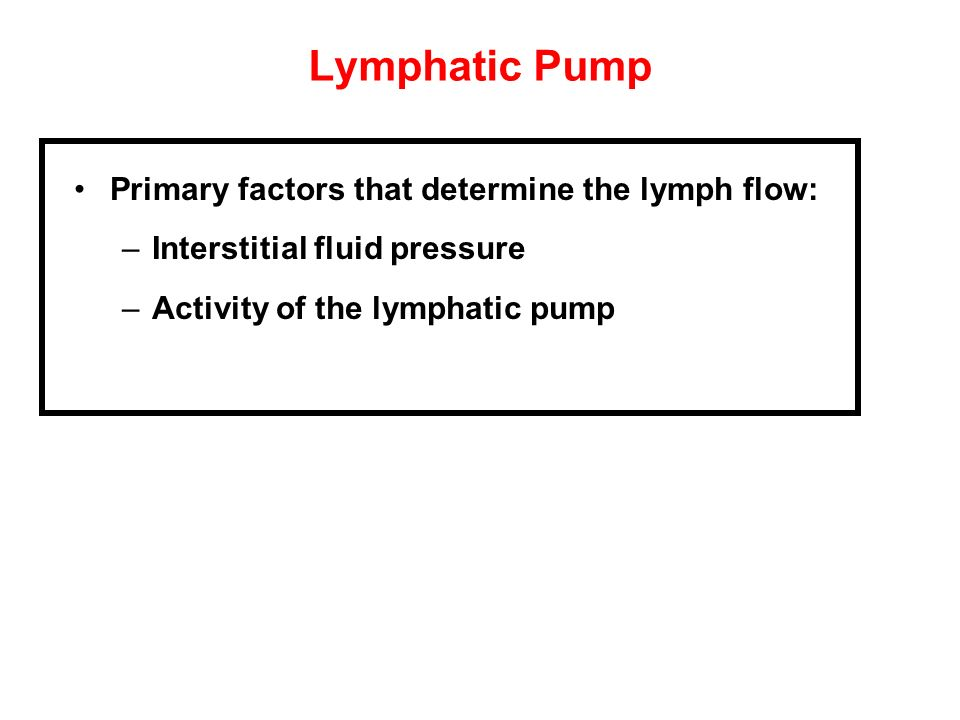 Lymphatic Pump Primary factors that determine the lymph flow: –Interstitial fluid pressure –Activity of the lymphatic pump