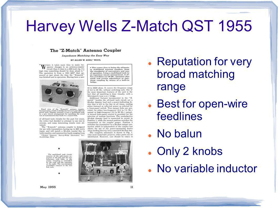Harvey Wells Z-Match QST 1955 Reputation for very broad matching range Best for open-wire feedlines No balun Only 2 knobs No variable inductor