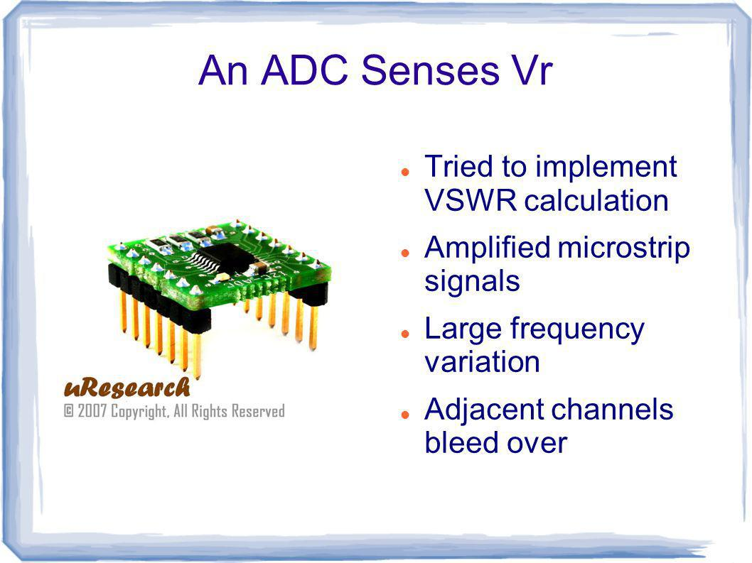 An ADC Senses Vr Tried to implement VSWR calculation Amplified microstrip signals Large frequency variation Adjacent channels bleed over