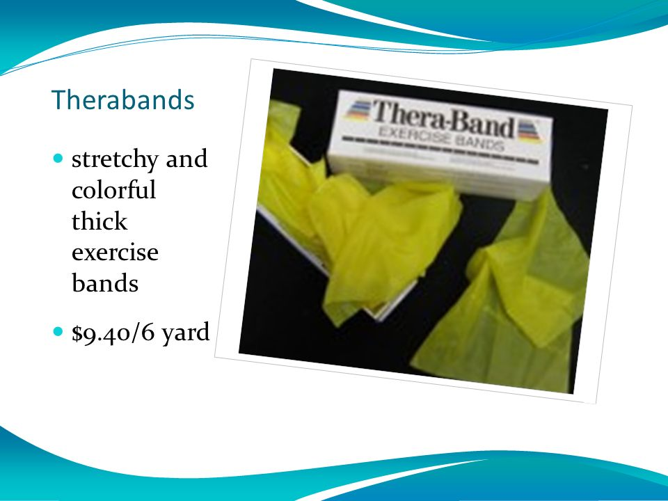 Click icon to add picture Therabands stretchy and colorful thick exercise bands $9.40/6 yard