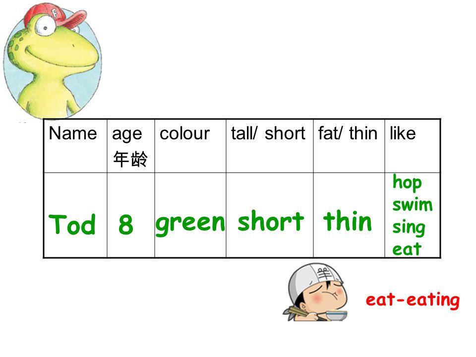 Glug, glug…My name is Tod. I am a frog. Im green. Im short. Im thin. Im eight. I like hopping. I like swimming. I like singing. I like eating soooo… m