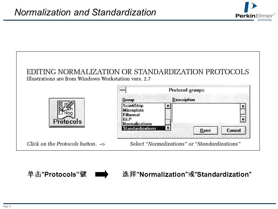 Page 17 Normalization and Standardization Protocols NormalizationStandardization