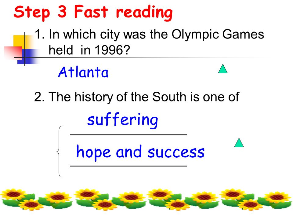 Step 3 Fast reading 1. In which city was the Olympic Games held in 1996.