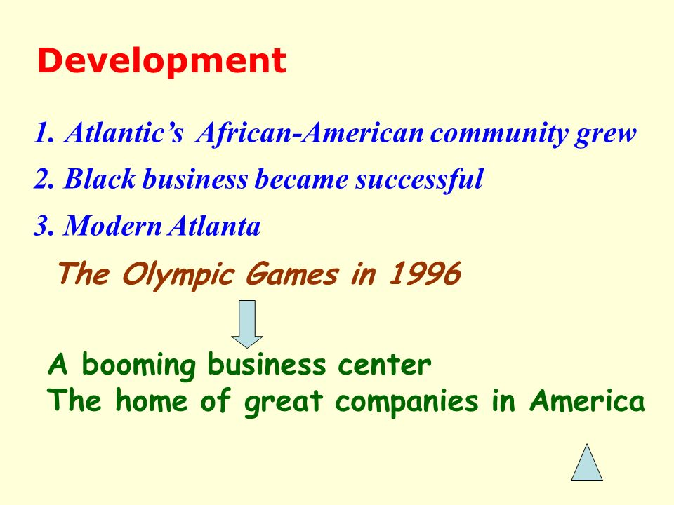 Development 1. Atlantics African-American community grew 2. Black business became successful 3. Modern Atlanta A booming business center The home of g