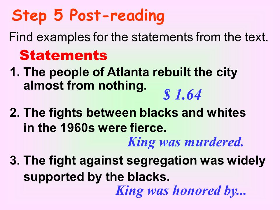 Step 5 Post-reading Find examples for the statements from the text.