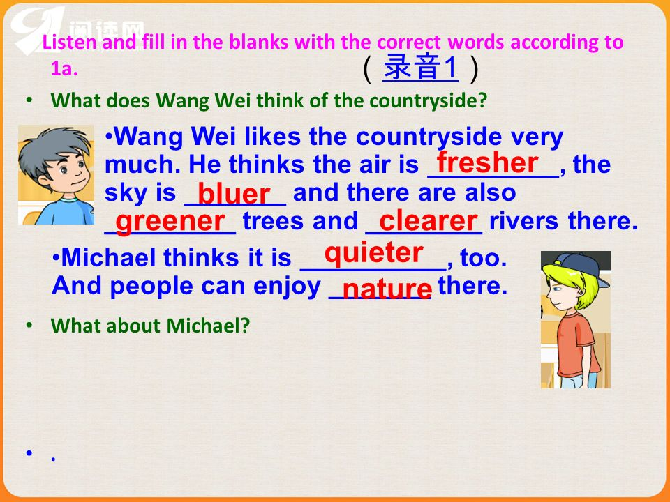 1a Look, listen and say Where does Wang Wei like to live better, a countryside or a city 2