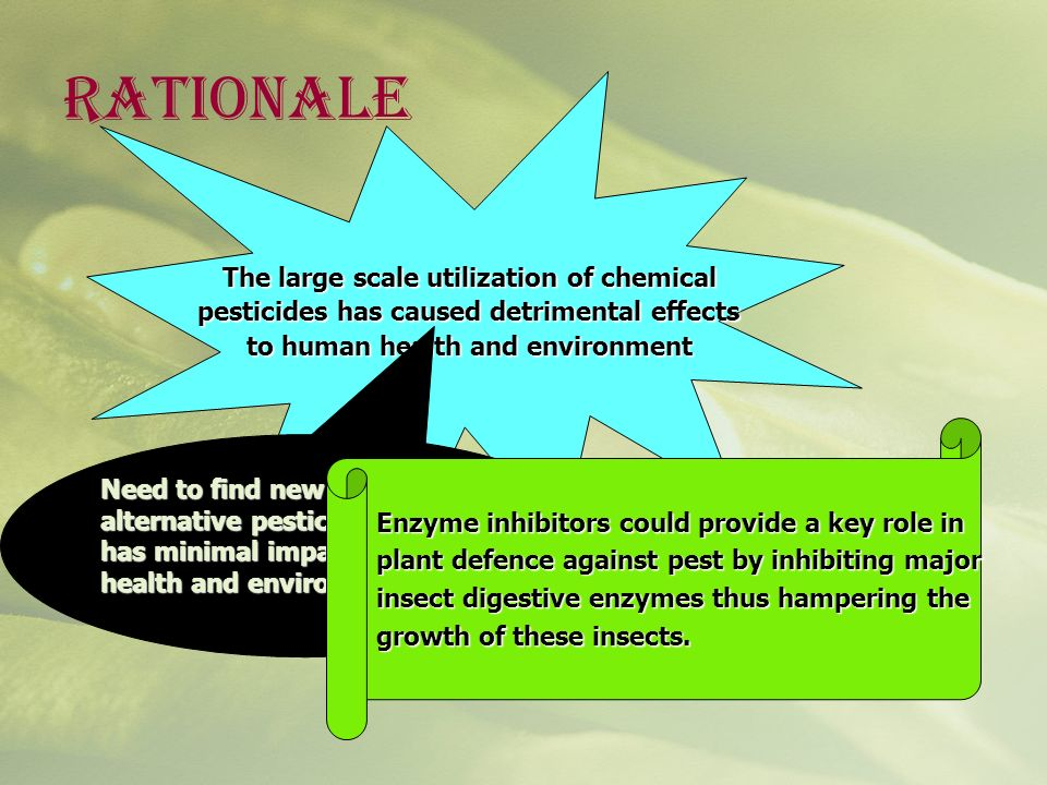 Rationale The large scale utilization of chemical pesticides has caused detrimental effects pesticides has caused detrimental effects to human health