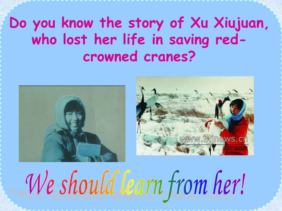 Once there was a kind-hearted girl. When she was young,she kept a red- crown crane. After she left college, she returned to the place where the red -