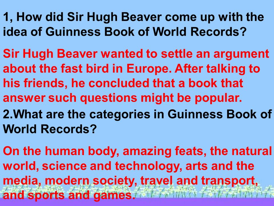 Reading 1, How did Sir Hugh Beaver come up with the idea of Guinness Book of World Records.