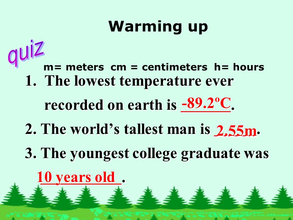 1.The lowest temperature ever recorded on earth is.