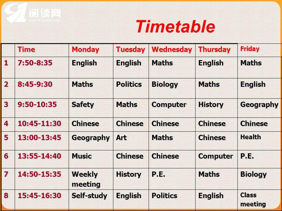 Timetable TimeMondayTuesdayWednesdayThursdayFriday 17:50-8:35EnglishEnglishMathsEnglishMaths 28:45-9:30MathsPoliticsBiologyMathsEnglish 39:50-10:35Saf
