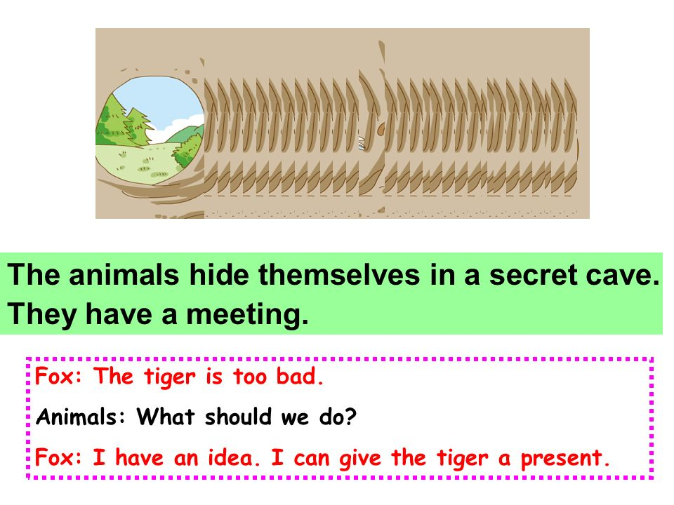 cavecavein a Many animals know the cave, but the tiger doesnt know it. secret hide themselves himself herself itself /k e v// ' si:kr t /