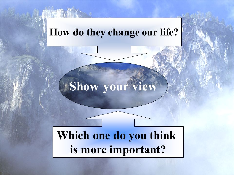 Show your view Which one do you think is more important How do they change our life