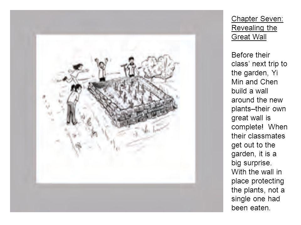 Chapter Seven: Revealing the Great Wall Before their class next trip to the garden, Yi Min and Chen build a wall around the new plants–their own great wall is complete.