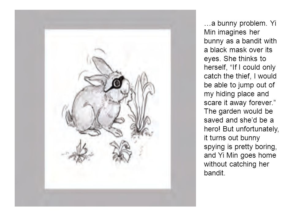 …a bunny problem. Yi Min imagines her bunny as a bandit with a black mask over its eyes.