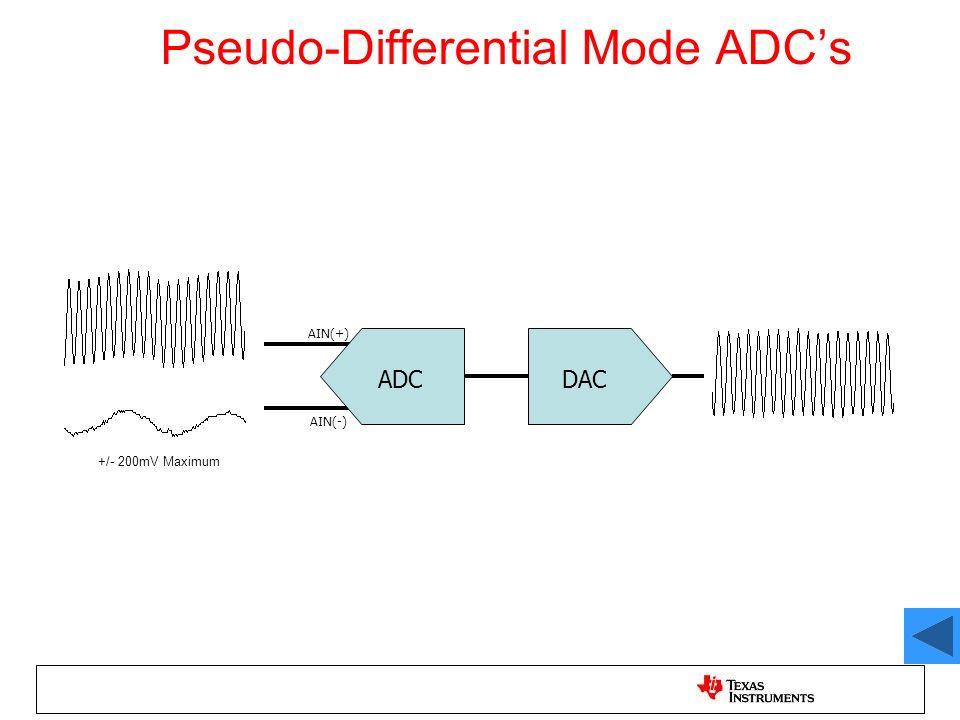 Pseudo-Differential Mode ADCs ADCDAC AIN(+) AIN(-) +/- 200mV Maximum