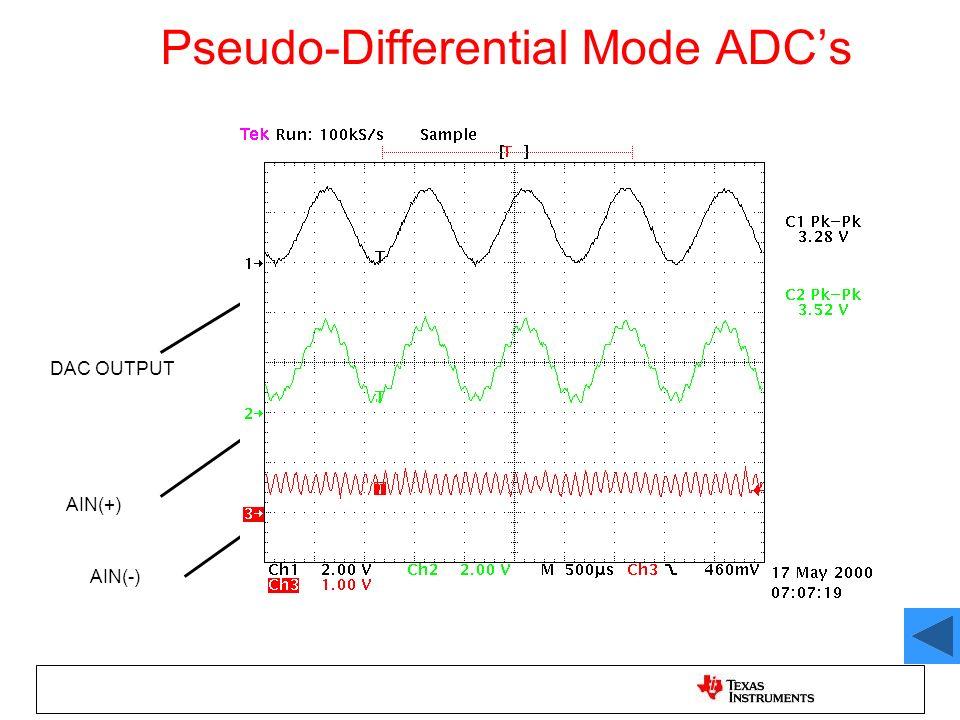 Pseudo-Differential Mode ADCs AIN(-) AIN(+) DAC OUTPUT