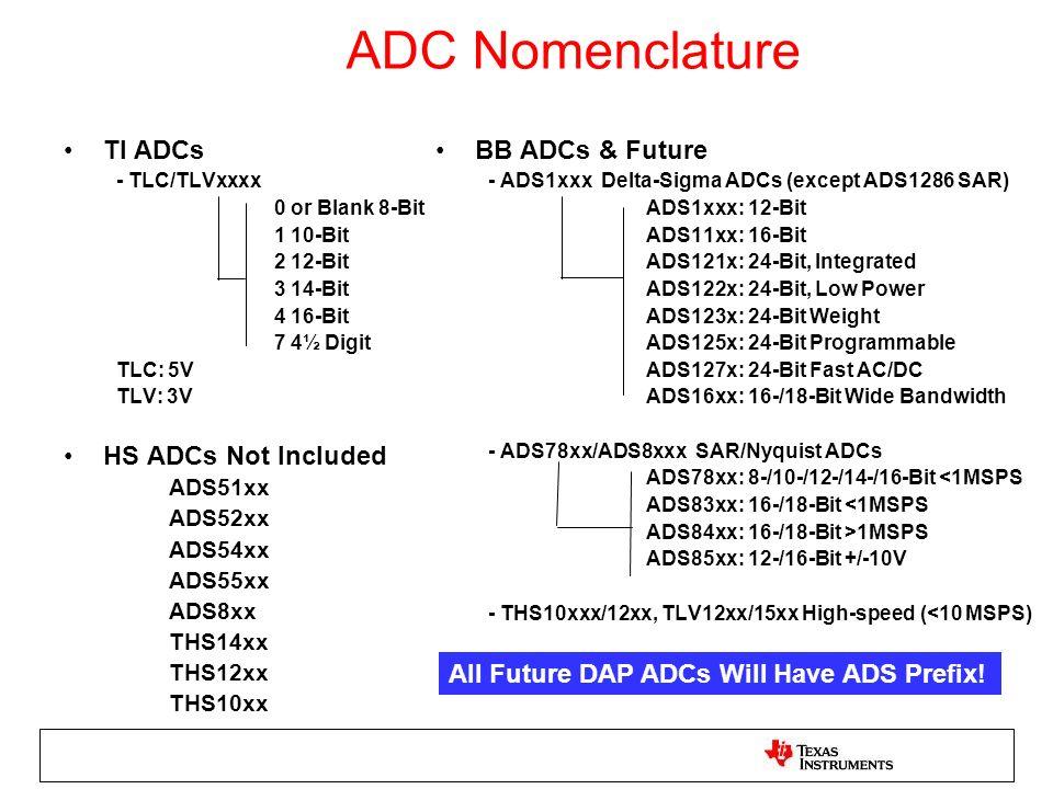 ADC Nomenclature TI ADCs - TLC/TLVxxxx 0 or Blank 8-Bit 1 10-Bit 2 12-Bit 3 14-Bit 4 16-Bit 7 4½ Digit TLC: 5V TLV: 3V HS ADCs Not Included ADS51xx AD