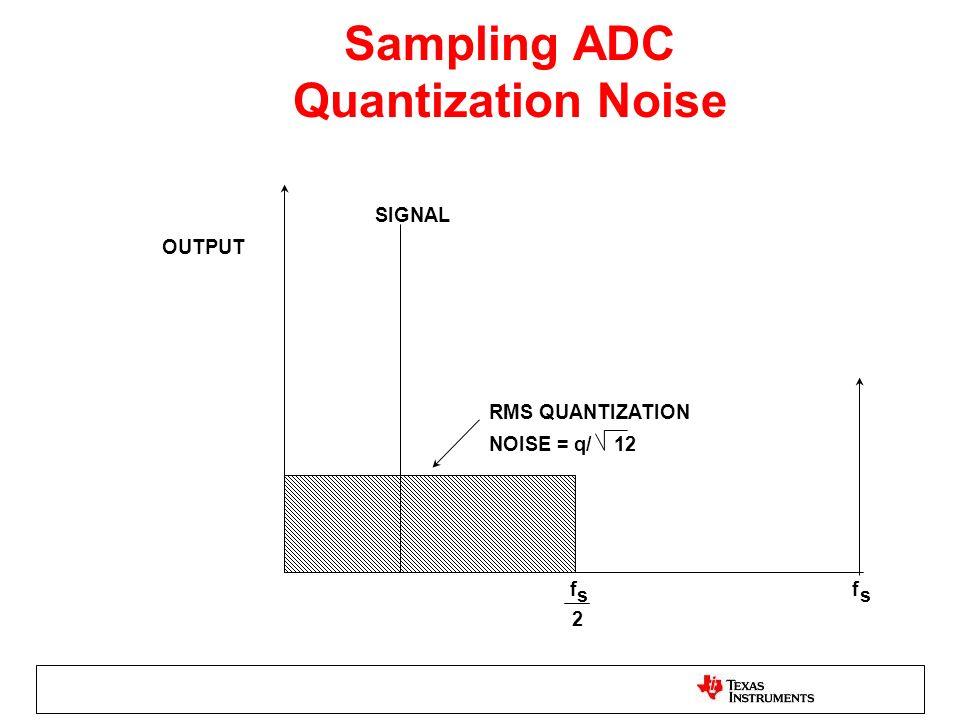 Sampling ADC Quantization Noise OUTPUT SIGNAL RMS QUANTIZATION NOISE = q/ 12 f s 2 f s