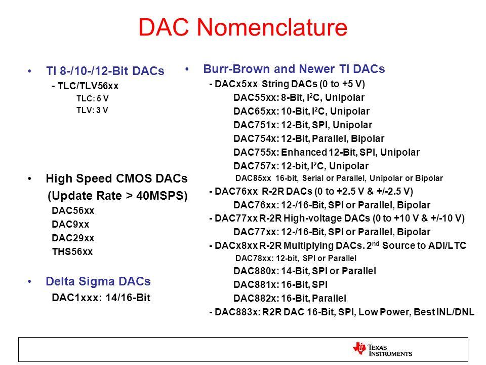 DAC Nomenclature TI 8-/10-/12-Bit DACs - TLC/TLV56xx TLC: 5 V TLV: 3 V High Speed CMOS DACs (Update Rate > 40MSPS) DAC56xx DAC9xx DAC29xx THS56xx Delt
