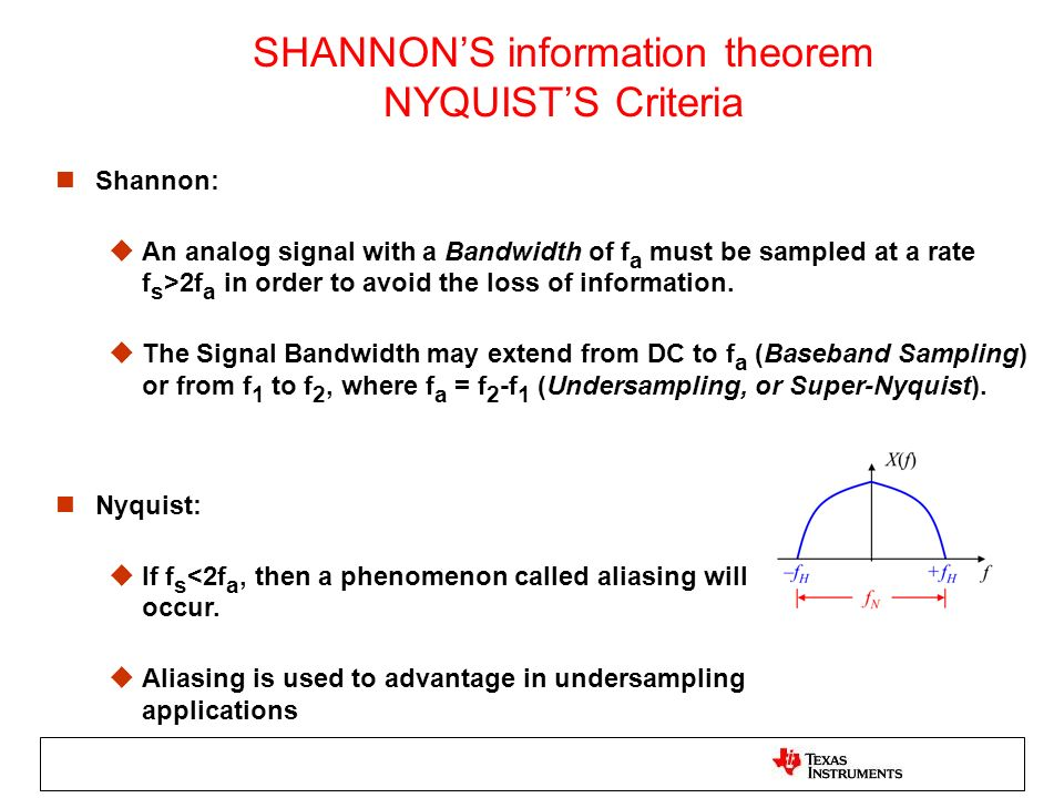 SHANNONS information theorem NYQUISTS Criteria n Shannon: u An analog signal with a Bandwidth of f a must be sampled at a rate f s >2f a in order to a