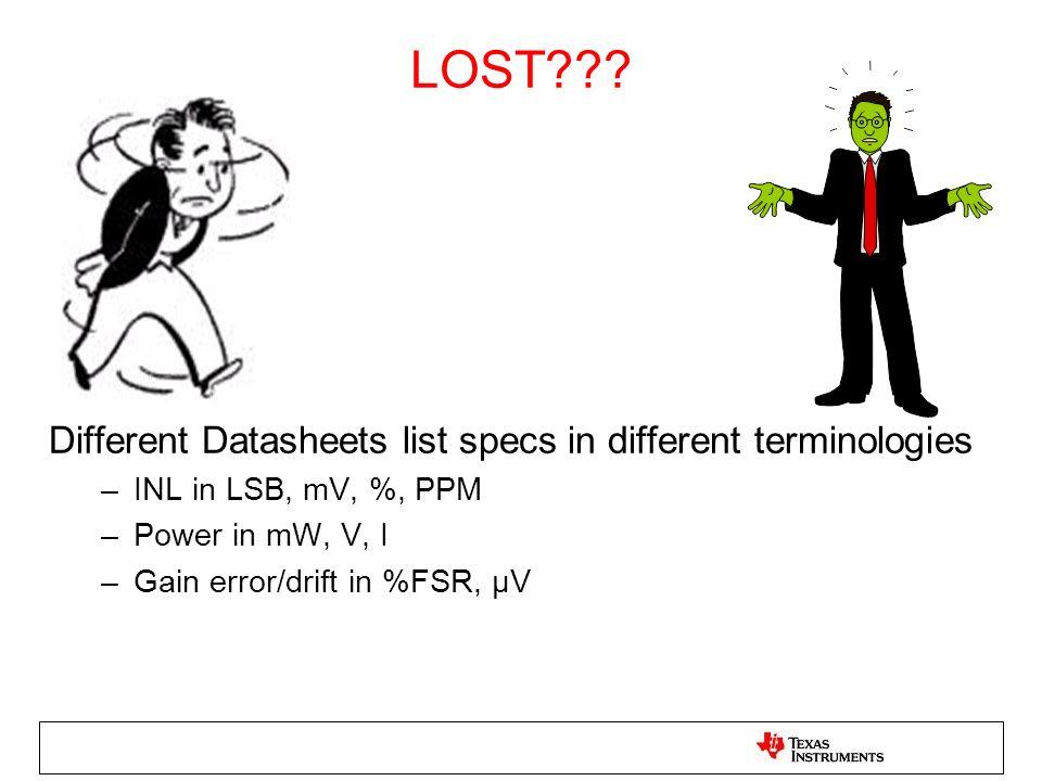 LOST??? Different Datasheets list specs in different terminologies –INL in LSB, mV, %, PPM –Power in mW, V, I –Gain error/drift in %FSR, μV