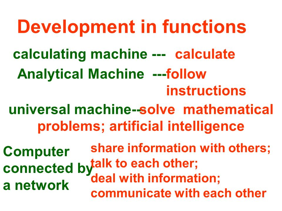 Changes of the machine Calculating machine Analytical machine Universal machine artificial intelligence PC (desktop/ notebook) Internet .