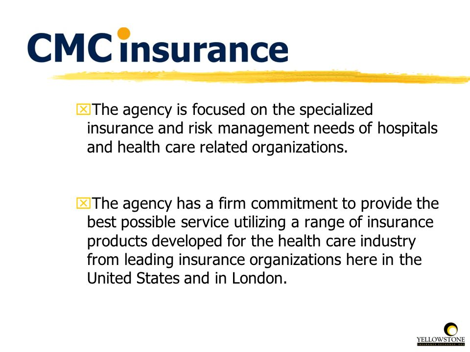 xThe agency is focused on the specialized insurance and risk management needs of hospitals and health care related organizations. xThe agency has a fi
