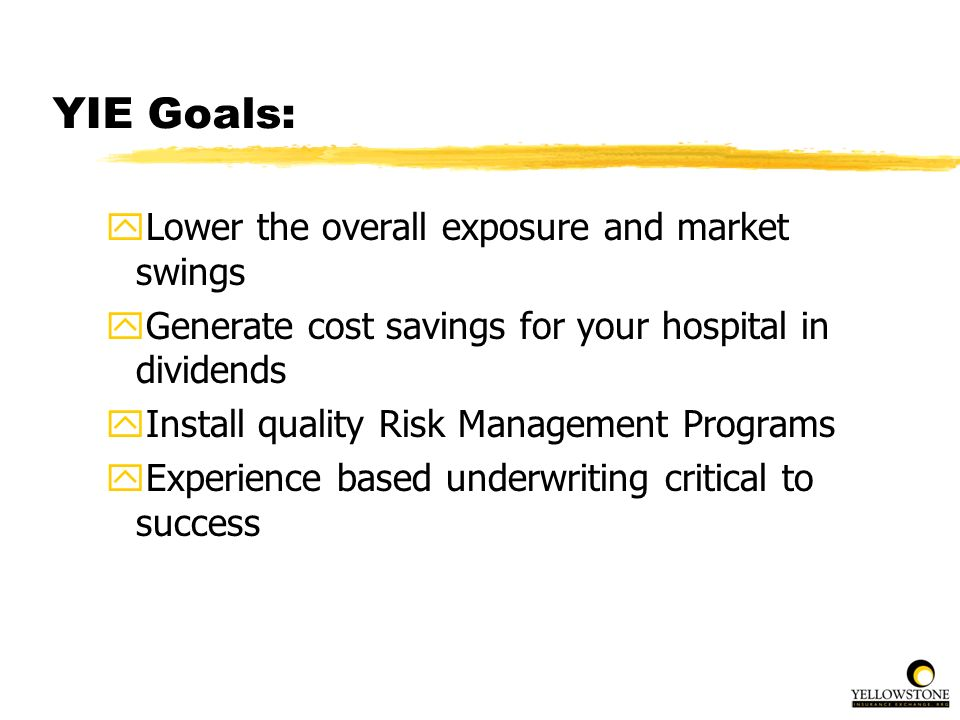 YIE Goals: yLower the overall exposure and market swings yGenerate cost savings for your hospital in dividends yInstall quality Risk Management Progra