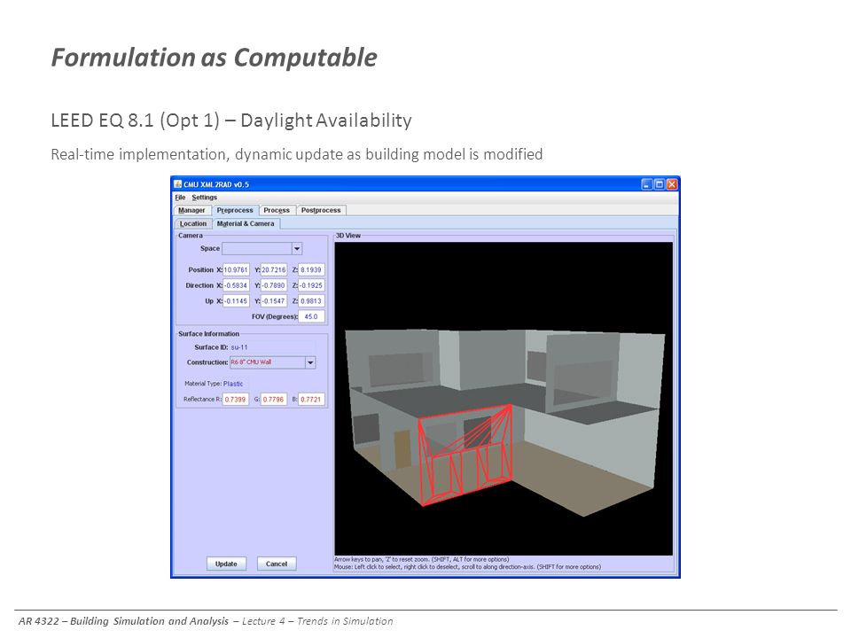 Formulation as Computable LEED EQ 8.1 (Opt 1) – Daylight Availability Real-time implementation, dynamic update as building model is modified Automated