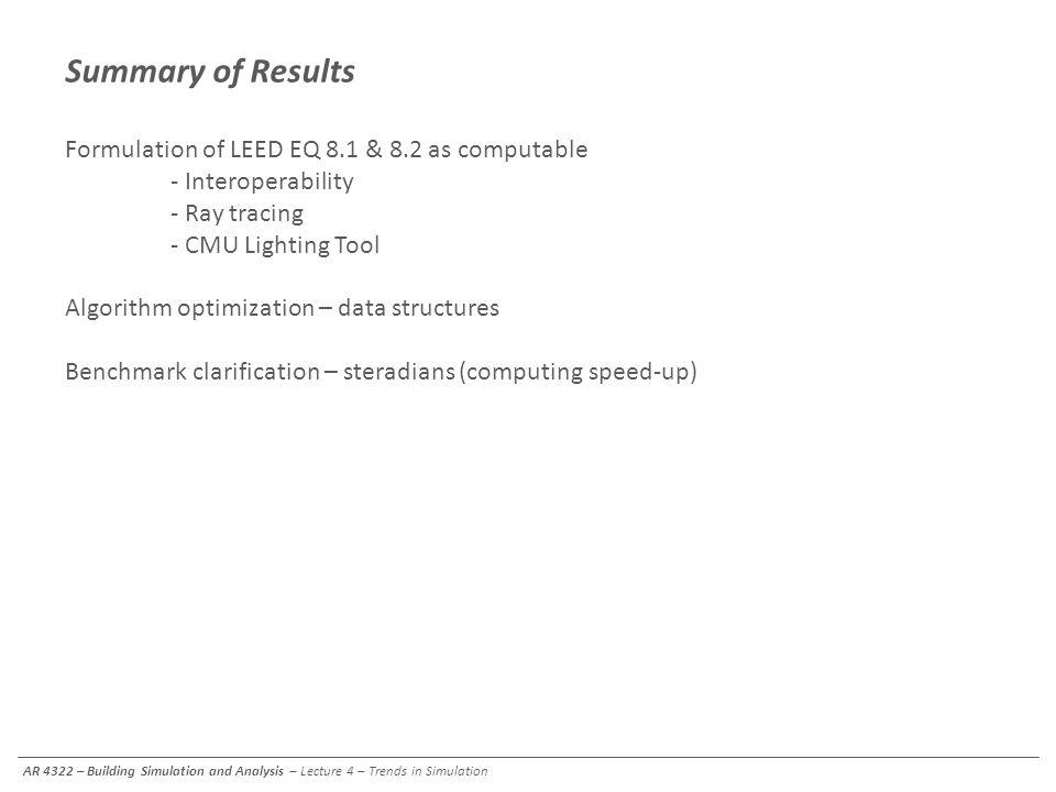 Summary of Results Formulation of LEED EQ 8.1 & 8.2 as computable - Interoperability - Ray tracing - CMU Lighting Tool Algorithm optimization – data s