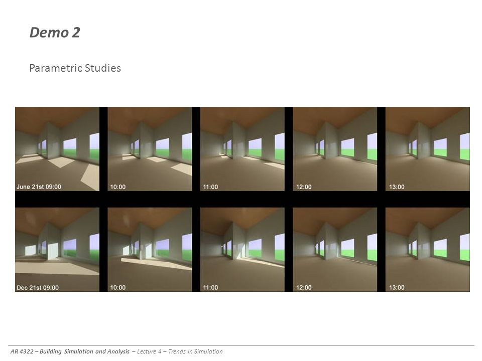 Demo 2 Parametric Studies AR 4322 – Building Simulation and Analysis – Lecture 4 – Trends in Simulation