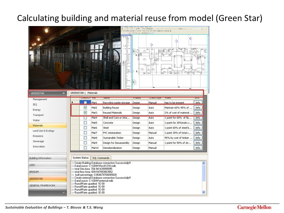 Sustainable Evaluation of Buildings – T. Biswas & T.S. Wang Calculating building and material reuse from model (Green Star)