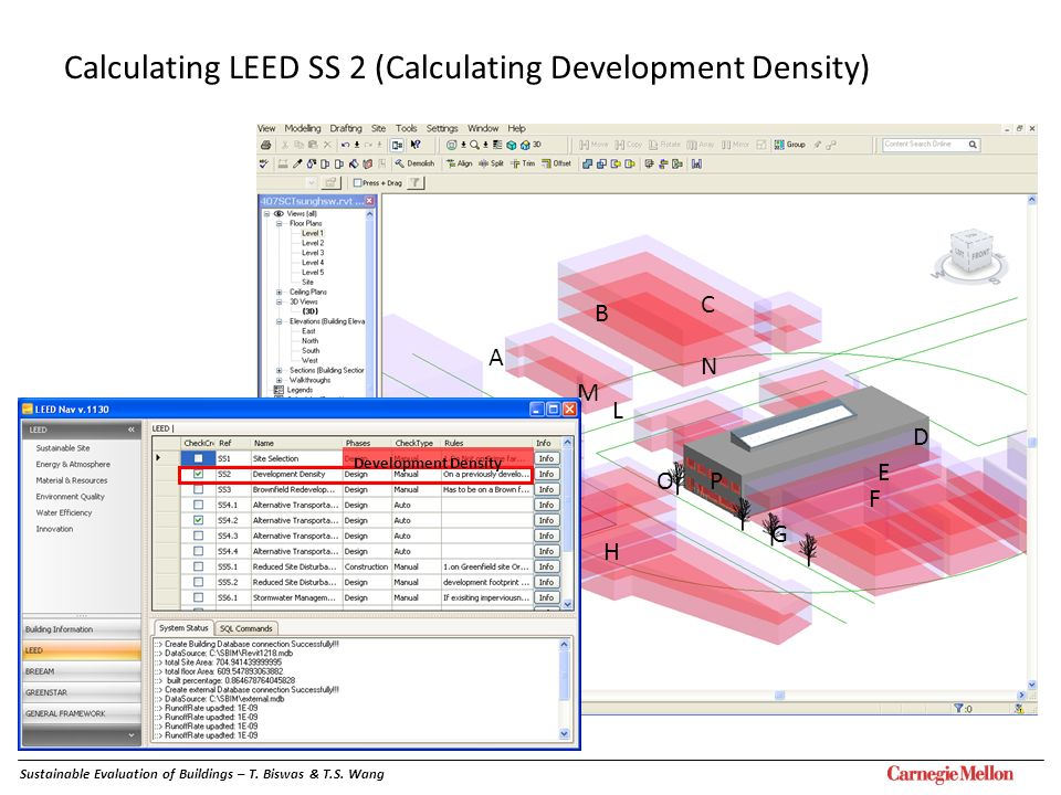 A B C D E F G H IJ K L M N OP Sustainable Evaluation of Buildings – T. Biswas & T.S. Wang Development Density Calculating LEED SS 2 (Calculating Devel