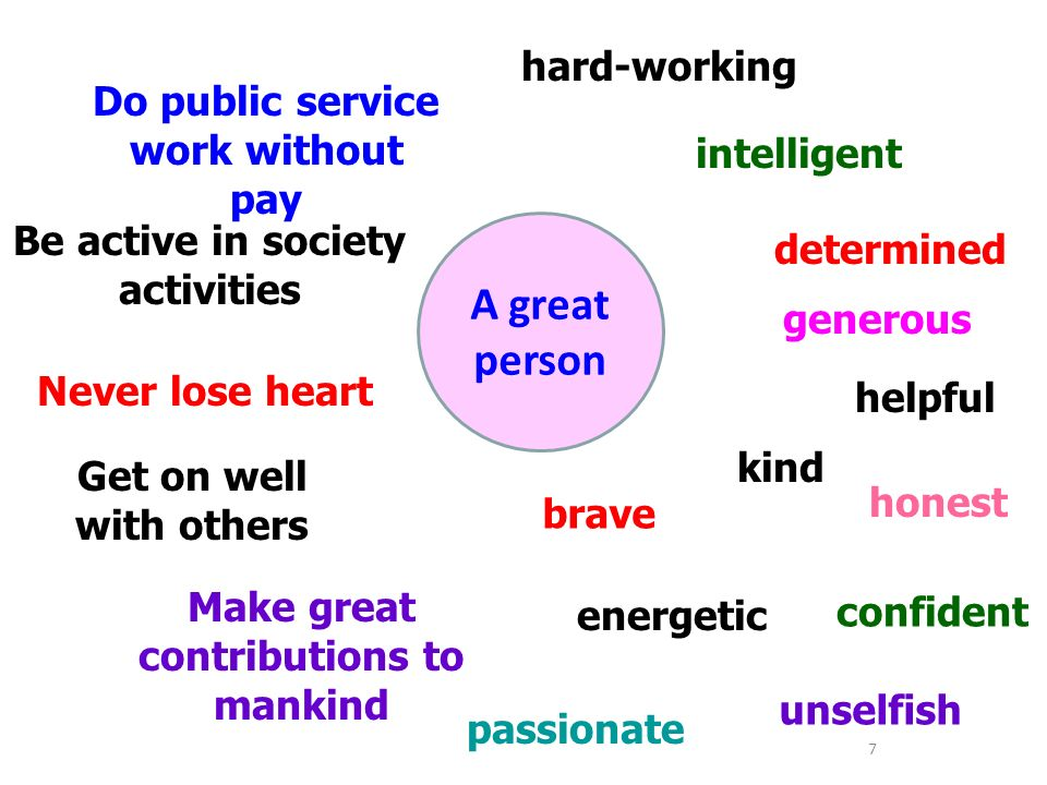 What adjectives do we usually use to describe a great person.