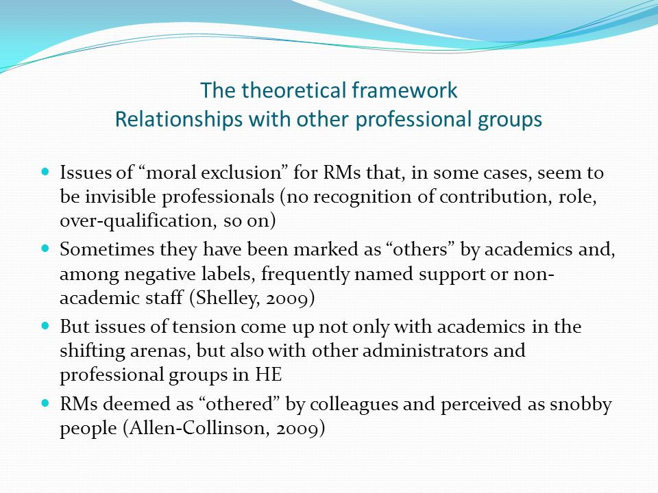 The theoretical framework Relationships with other professional groups Issues of moral exclusion for RMs that, in some cases, seem to be invisible pro