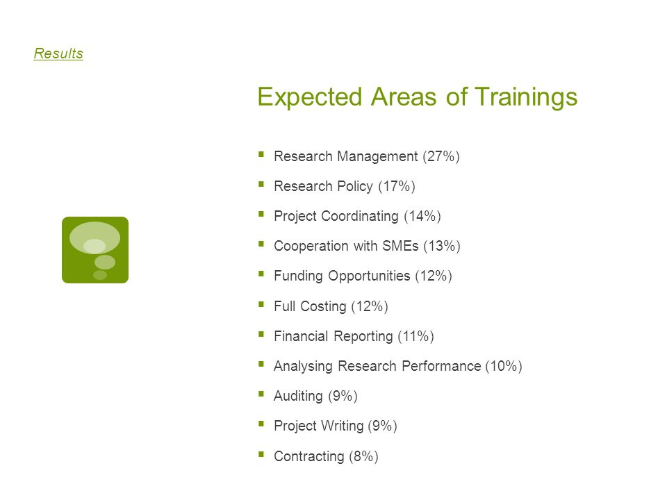 Expected Areas of Trainings Research Management (27%) Research Policy (17%) Project Coordinating (14%) Cooperation with SMEs (13%) Funding Opportuniti