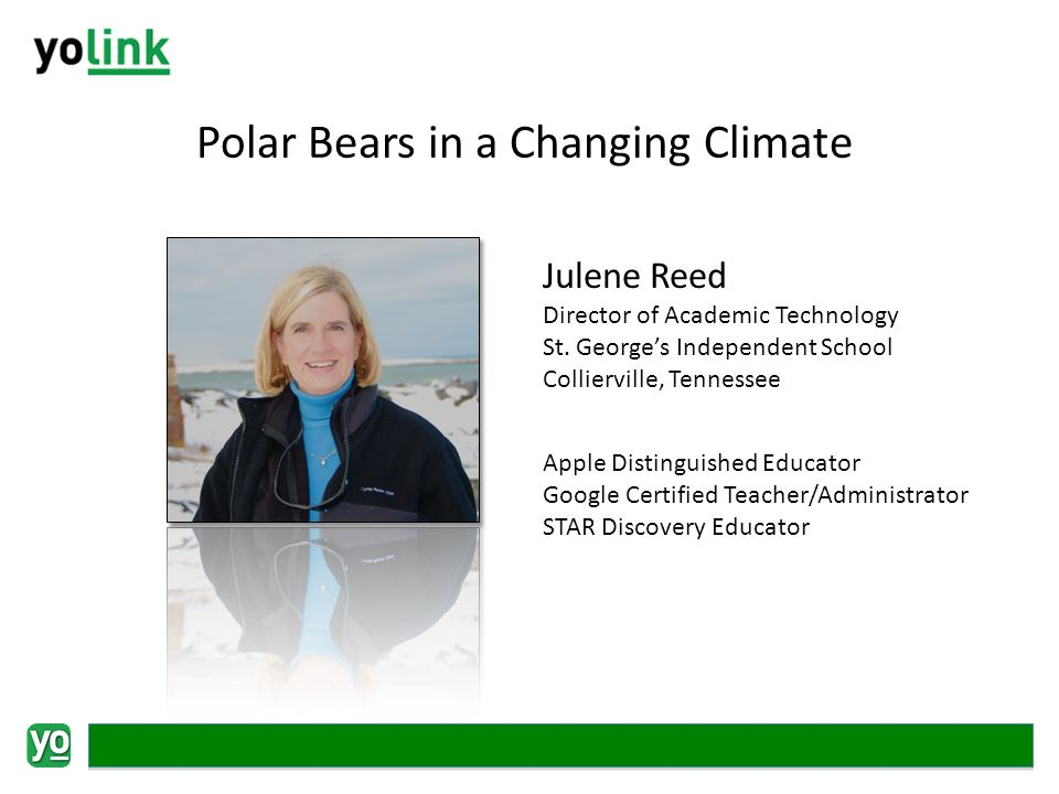 Polar Bears in a Changing Climate Julene Reed Director of Academic Technology St.