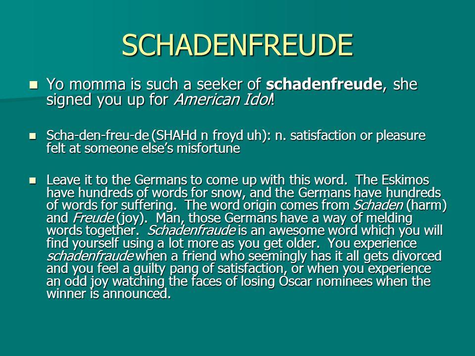 SCHADENFREUDE Yo momma is such a seeker of schadenfreude, she signed you up for American Idol! Yo momma is such a seeker of schadenfreude, she signed