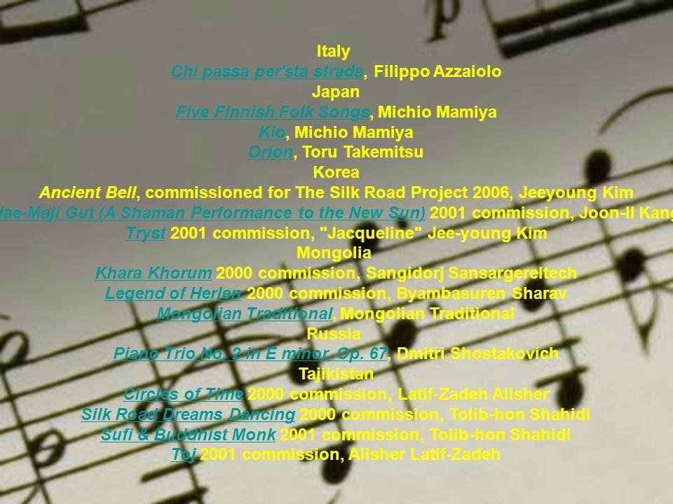 Italy Chi passa per'sta stradaChi passa per'sta strada, Filippo Azzaiolo Japan Five Finnish Folk SongsFive Finnish Folk Songs, Michio Mamiya KioKio, M