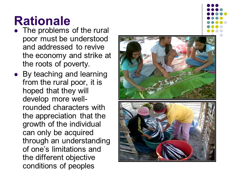 Rationale The program has become an effective, no-nonsense fieldwork course that enables students to integrate with the toiling rural masses for five weeks despite 190s zero budget.