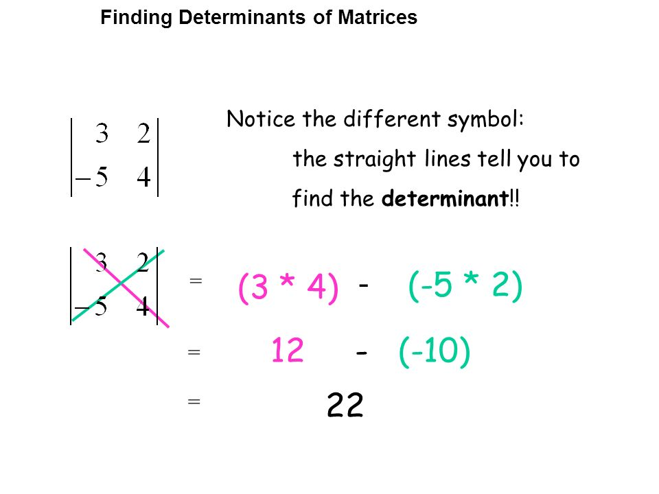 Notice the different symbol: the straight lines tell you to find the determinant!! (3 * 4) - (-5 * 2) 12 - (-10) 22 = Finding Determinants of Matrices